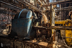 Basking Gold and Blue (billmclaugh) Tags: industry paper pulp mill warehouse ohio abandoned urbanexploration urbex ue machinery rust decay shadows derelict debris canon 5dmiii tse24mmf35lii tiltshift highdynamicrange hdr adobe lightroom photoshop on1 perfecteffects