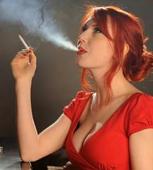 Smoking (iggy62pop2) Tags: giantess sexy shrinkingman babe breasts cleavage tinyman dangle smoking redhead milf
