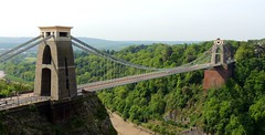 Spanning the Ages (Kevin Pendragon) Tags: avon gorge trees green sky blue clouds bridge towers stone brick steele water waterway mud muddy hot sun sunshine scene landscape scenery historic history iconic bristol naturephotography nature road hills hillside