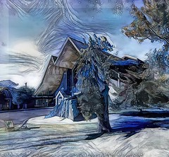 Courage is the power to let go of the familiar. (Raymond Lindquist) (boeckli) Tags: 013234 rx100m6 ddg deepdreamgenerator topaz topazstudio texture textures textur texturen auckland newzealand holytrinitycathedral awardtree blue blau outdoor building architecture architektur kirche kathedrale cathedral