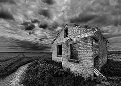 Dereliction (selvagedavid38) Tags: building derilict sky clouds field brick tumbledown ruin abandoned essex decay monochrome blackandwhite bleak foreboding absoluteblackandwhite