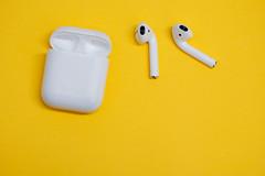 Wireless earphones isolated against yellow background (Rushay) Tags: wireless background yellow sound music portelizabeth southafrica
