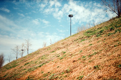 from the bike trail (.grux.) Tags: holga135 film konicavx400 expiredfilm zonefocus plasticfantastic biketrail hill slop sky trees clouds trail testroll donvalley toronto