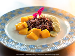 May Kaidee - Mango Sticky Rice (Bitter-Sweet-) Tags: vegan food sweet rice sticky thai thailand grains whole wholesome glutenfree cooking technique dessert healthy coconut dairyfree mango sesame banana blackrice bangkok maykaidee class