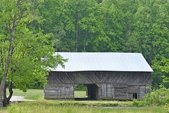 Hay Barn (NC Mountain Man) Tags: cataloocheevalley nikon d3400 phixe ncmountainman trees barn haybarn creek stream brook door grass field lowresolutionversion