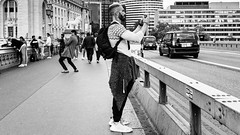 Click (Sean Batten) Tags: london england unitedkingdom westminsterbridge westminster photographer person candid streetphotography street blackandwhite bw city urban fuji x100f fujifilm