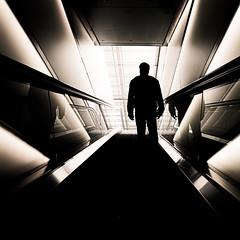 P5060196-monochrome (omj11) Tags: zurich architecture suisse urbain carré olympus monochrome escalator