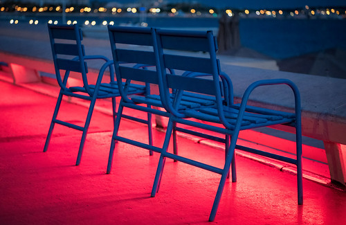 Blue Chairs on Cannes Promenade