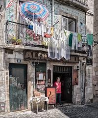 Upstairs Downstairs (Trouvaille Blue) Tags: portugal lisboa lisbon alfama restaurant pub fado laundry trouvailleblue upstairs downstairs umbrella