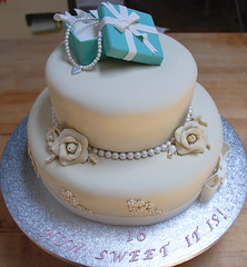 How Sweet It is!!! (ineedathis, Everyday I get up, it's a great day!) Tags: almondtorte cake sweetsixteen goddaughter juliana vanilla chocolate creampatisserie baking rolledfondant pearls gumpaste tiffanybox ribbon roses blue white silver heart handmade modeling torte pearlnecklace