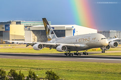 Etihad A380 A6-APA (kristian051997) Tags: rainbow a380 airbus planewithrainbow planeandrainbow etihad a6apa a388 a380800 superjumbo landing aviation weather autumn planespotting egll lhr heathrow heathrowairport etihadairways rainbowshot rainbowphoto