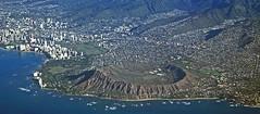 Diamond Head, Hawaii from the air. 1981 (Brit 70013 fan) Tags: hawaii oahu honolulu waikiki volcano crater diamond head diamondheadstatemonument beach