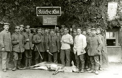 Venison on the menu 5.6.16 (✠ drakegoodman ✠) Tags: soldier postcard rifle cook doe meat moustache deer worldwarone soldiers killed hunter ww1 medic greatwar firstworldwar worldwar1 mauser germansoldiers rppc infantrymen jackboots hirschkuh feldpost feldmutze krätzchen