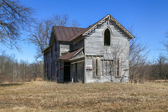 Hall House — Highland Township, Defiance County, Ohio (Pythaglio) Tags: house dwelling residence farmhouse historic abandoned vacant hall highlandtownship defiancecounty ohio rural 15story woodsiding balloonframe gothicrevival shutters spindlework porch trees lancetarched windows