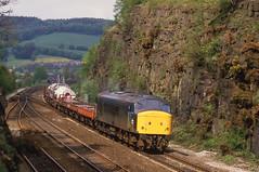 45040 Heads South Through  Ambergate Cutting. 19.05.1986 (briandean2) Tags: 45040 ambergate railways ukrailways ukfreighttrains derbyshire