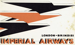 Imperial Airways- cover to the London - Brindisi flight guide, 1935 (mikeyashworth) Tags: imperialairlines stuartsadvertisingagency london speedbird brindisi airlineephemera airlinepublicity 1935 thyreleeelliott corporateidentity logo mikeashworthcollection graphicdesign brochurecover typeface typography