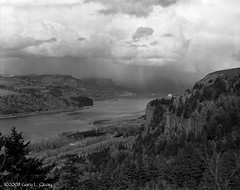 Vista House and Storm (Gary L. Quay) Tags: columbiagorge oregon vista house columbia gorge efke pl50 w2d2 storm calumet schneider kreuznach foolscapeimagery garylquay garyquay landscape nature pyro darkroom pacificnorthwest outside outdoors hcrh vistahouse crownpoint