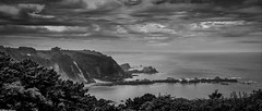 North Spain, (Gullivers adventures) Tags: northspain camino santiago cudillero walking landscape hiking black white scenery ocean sea clouds sky trees cliffs mountains