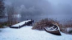 Loch Ard (burnsmeisterj) Tags: olympus omd em1 lochard snow frost water boathouse boat pier