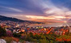 Tabarja From Adma, Lebanon (Paul Saad) Tags: pano panorama panoramic sunset sunrise dusk dawn lebanon jounieh tabarja adma lights sun nikon night