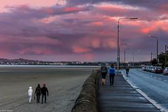 Sandymount sunst, Dublin City (Gullivers adventures) Tags: sunsets dublin ireland beach strand sea sun people walking road scenery coast shells