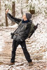Hiker selfie (Ronda Hamm) Tags: 100400mkii 7dii canon cold hiker iphone man outdoors people photographer selfie snow winter