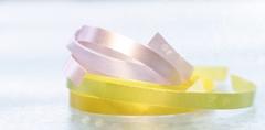 Ribbons (Elisafox22) Tags: elisafox22 sony ilca77m2 100mmf28 macro macrolens telemacro lens hmm macromondays pastel pale ribbons string colours pink yellow green sunshine bokeh tabletop indoors elisaliddell©2019