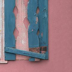 shaky shutter (msdonnalee) Tags: woodenshutter broken minimalism minimalismo minimalisme pinkandblue squareformat
