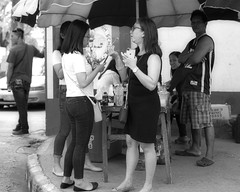 Food tasting (Beegee49) Tags: street people food eating blackandwhite monachrome bw luminar sony a6000 bacolod city philippines asia
