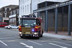 MFRS - City Centre Turnout (Liam Blundell Photography) Tags: mfrs merseysidefirerescueservice liverpool merseyside citycentre m11p1 dk55hnb reservepump rescuepump pump bluelights nikond3400 fireengine firefighters scania scania94d