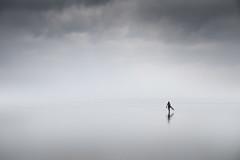 Lonely Endeavour (Dan Portch) Tags: saunton sands sea seascape seashore seaside seas beach misty mist minimal coast coastline coastal landscape reflection reflections surfer surf devon north travel