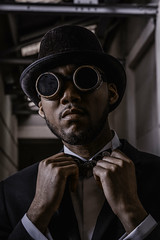 Davion (MX Man) Tags: professional male model steam punk clock work orange godox d 360 top hat bowler strobist portrait style modern old fashioned smart clever s creative birmingham england uk fuji x t 3 16 55