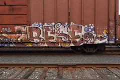 OBESE (TheGraffitiHunters) Tags: graffiti graff spray paint street art colorful benching benched freight train tracks boxcar obese