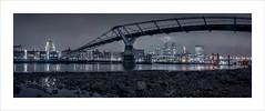London Panorama (Nigel Morton) Tags: london landscape panoramic river thames night city sony rx100 sonyrx100 lowtide bridge millennium stitched