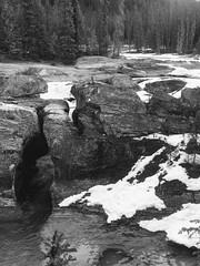 Yoho National Parkway Spring (Mr. Happy Face - Peace :)) Tags: cans2s art2019 black white bw yoho bc canada nature spring snow river texturetuesdays theme hiking trees forest field