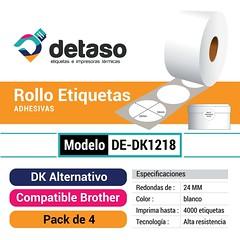Pack 4 Rollo Dk1218 Etiquetas Redondas Adhesivas (Detaso) Tags: chile brother dk dk2205 dk1201 dk1208 dk1209 dk2210 dk2243 dk1202 etiqueta rotuladora etiquetas dk1218 redonda