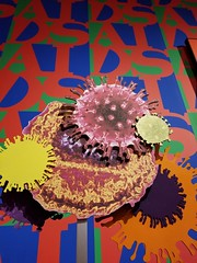 An art piece at Art in Bloom at the Winnipeg Art Gallery. (Rob Swystun) Tags: wag artinbloom winnipegartgallery winnipeg manitoba canada aids red blue green orange yellow purple