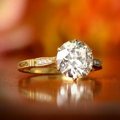Solitaire Gold Engagement Ring (estatediamondjewelry) Tags: yellow solitaire rare wedding engagement ring proposal diamond gold design jewelry diamonds platinum flowers fashion