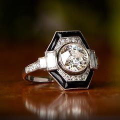Diamond and Onyx Engagement Ring (estatediamondjewelry) Tags: vintage onyx platinum old european mine antique estate rare wedding engagement ring proposal diamond gold design jewelry diamonds flowers fashion