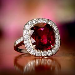 Rubellite Engagement Ring (estatediamondjewelry) Tags: ruby rubbelite wedding engagement ring proposal diamond gold design jewelry diamonds platinum flowers fashion