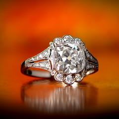 Cushion Cut Engagement Ring (estatediamondjewelry) Tags: cushion cut edwardian platinum style wedding engagement ring proposal diamond gold design jewelry diamonds flowers fashion