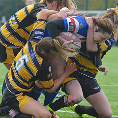 Gang Tackle (Feversham Media) Tags: yorkcityknightsladiesrlfc wakefieldtrinityladiesrlfc womenssuperleague rugbyleague york womensrugbyleague yorkstjohnuniversity