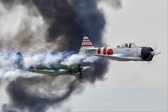 North American SNJ-6 Texan and CCF T-6J Harvard IV (Mitsubishi A6M Zero) - 02 (NickJ 1972) Tags: mcas yuma airshow 2019 aviation toratoratora tora northamerican t6 snj5 texan harvard n9820c 47ps 18 iv n15797 ai114