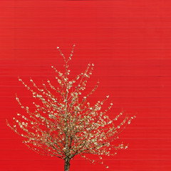 With the Blossom (Paul Brouns) Tags: architecture tree trees blossom blossoms blooming red background backdrop structure square almere paulbrouns paulbrounscom paul brouns