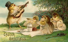 Easter Serenade for the Picnic Chicks (Alan Mays) Tags: ephemera postcards greetingcards greetings cards eastercards paper printed easter holidays chickens chicks birds poultry animals families clothes clothing hats music musicians musicalinstruments guitars picnics food eating anthropomorphic anthropomorphism illustrations humor humorous funny comic yellow green antique old vintage typefaces type typography fonts