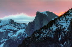 Half Dome Fire in the Sky (optimalfocusphotography) Tags: northerncalifornia california usa landscape yosemite mountain nature nationalpark halfdome yosemitenp telephoto sunrise yosemitenationalpark spring clouds