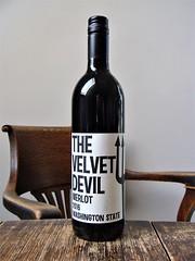 The Velvet Devil Merlot (knightbefore_99) Tags: bottle wine vin vino red rouge tinto rosso grape delicious tasty washington state velvet devil usa merlot 2016 awesome art charles smith yakima