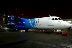 Nordica (ES-ATA) (Fraser Murdoch) Tags: nordica flynordica estonia estonian flag carrier airline air atr 72600 at76 atr72 esata es ata glasgow international airport egpf gla airside flybe huawei p8 lite 2017 2019 summer lease leased operating for fraser murdoch government night shot shighshot aviation aircraft turboprop propeller blue livery plane spotting ramp stand 15 central pier