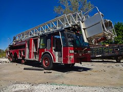 Somebody might want to let Chicago Fire Dept. know that they might be missing a fire truck... (Trebor420) Tags: cfd chicago truck old gray indiana abandoned 2018 red sky bluesky trees summer sunny hot firetruck missing