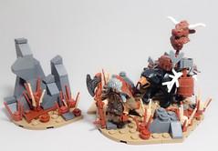 Dwarf Faction Hero: Wulfgar the Wanderer and Stoutmaw (WarScape) Tags: lego dwarf warscape warrior traveler minifigure custom hero bear axe trophy